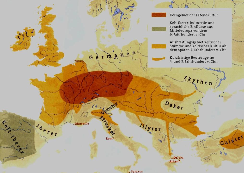 Die Ausbreitung der keltischen Stämme während der La Tène Periode. Bildquelle: Das Rätsel der Kelten vom Glauberg (2002) 47, Abb.25